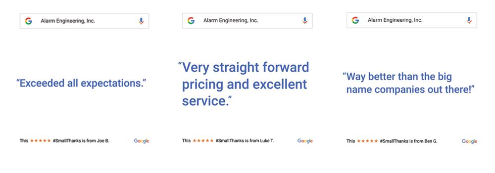 Alarm Engineering 5 Star Google Reviews